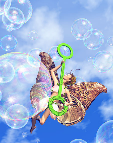 When Fairies get bubble wands! Bryce and Photoshop.