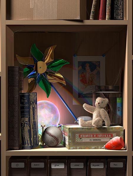 A magic crystal ball glows on a dusty, forgotten shelf.
