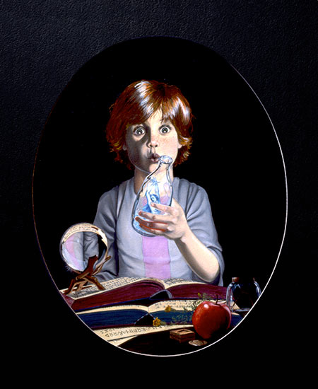 Child finding a homunculus in a bottle.